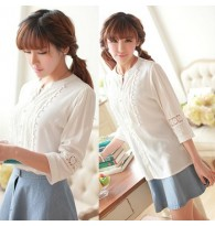 Japanese Openwork Embroidery Blouse