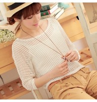 Hollow Knit Cotton Long-sleeved Blouse