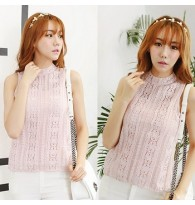 Embroidery Lace Sleeveless 2Piece Blouse