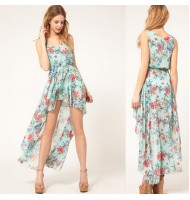 Floral Irregular Sleeveless Dress