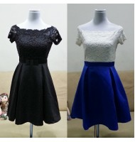 High Waist Chiffon Lace Dress