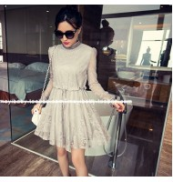 Stand Collar Long Sleeved Lace Dress
