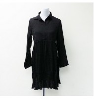 Collar Long Sleeve Chiffon Black Dress