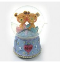 [Defect]Twin Bear Sitting Crystal Globe Music Box CS0188