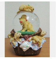 100mm Puppies Turning Crystal Globe Music Box