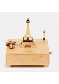 Handmade Eiffel Tower Aircraft Wooden Music Box