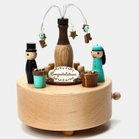 Handmade Celebration Champagne Wooden Music Box