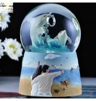 Dolphin Bay Water Globe Music Box
