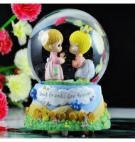 Precious Moment Kissing Water Globe Music Box