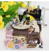 Cat Paradise Sewing Machine Music Box