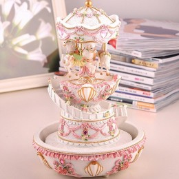Double Deck Water Fountain Carousel Music Box