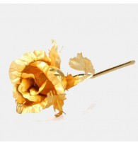 24K Gold Foil Close Rose Flower Large
