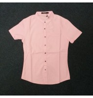 Men's Short Sleeve Band Collar Button Down Shirt