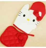 Hello Kitty Microwave Oven Gloves+Potholder (Red)