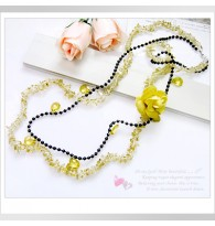 Yellow Flower 2 Layer Beaded Necklace