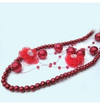 Red Flower 2 Layer Beaded Necklace