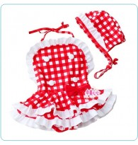 Red Checkered Swimswear