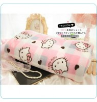 Hello Kitty Pink Plaid Fleece Blanket