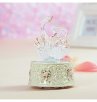 Luminous Light Crystal Glass Swan Music Box