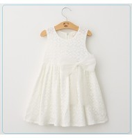Girls Bow Knot White Lace Dress