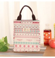 Floral Pattern Canvas Portable Insulated Lunch Bag