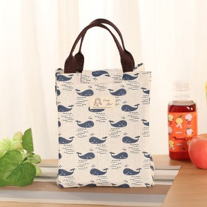 Whales Pattern Canvas Portable Insulated Lunch Bag