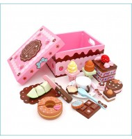 [Less 1 Item] Strawberry Ice-cream Chocolate Cake Wooden Toys AB2083