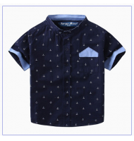 Boy Summer Anchor Printed Short Sleeve Shirt