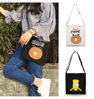 Cartoon Canvas Cross Body Shoulder Bag