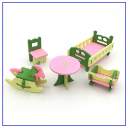 Wooden Miniature Dolls House Baby Room Furniture