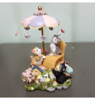 European Kitten Cat Garden Rotating Music Box