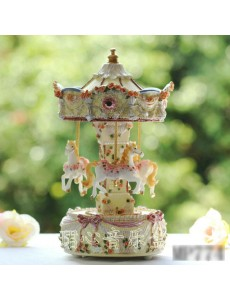 Carved Carousel Rotating Music Box