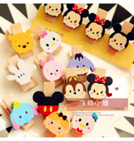 Lovely Tsum Tsum Characters Wooden Clip