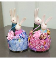 Traditional Japanese Style Couple Rabbit Music Box