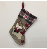 3D Santa with Burlap Fluff Christmas Stocking
