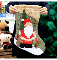 Santa Xmas Stocking with Magnificent Embroidery