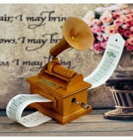 Music Notes Gramophone Wooden Music Box