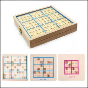 3 in 1 Beech with Drawers Sudoku Game Wooden Chess