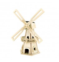 Solar Energy 3D Windmill DIY Wooden Puzzle Jigsaw 110