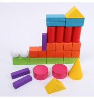 Colourful Geometry Shapes Wooden Blocks