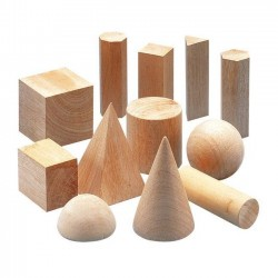 Solid Geometry Shapes Wooden Blocks