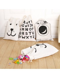 Letters Toy Storage Bag, Drawstring Bag, Canvas Storage Bag Sack
