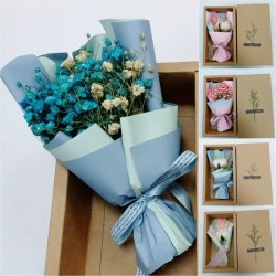 Colourful Cotton Flower Mini Bouquet Dried Flower Gift Box