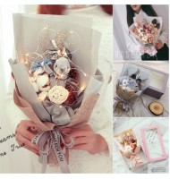 LED Lights Wishing Rabbit Bouquet Dried Flower Gift Box