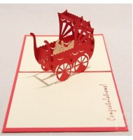 3D Carved Baby Car Handmade Pop up Greeting Cards
