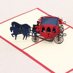 3D Carved Wedding Carriage Handmade Pop up Greeting Cards