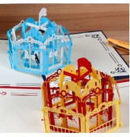 3D Carved Carousel Handmade Pop up Greeting Cards