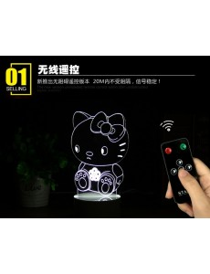 3D Hello Kitty Remote+USB LED Small Touching Light