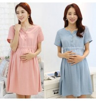 Trendy Solid Color Maternity Dress