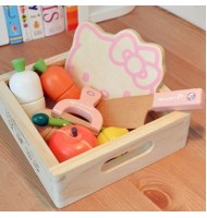 Woody Puddy Hello Kitty Vegetables and Fruits Set Wooden Toy Box